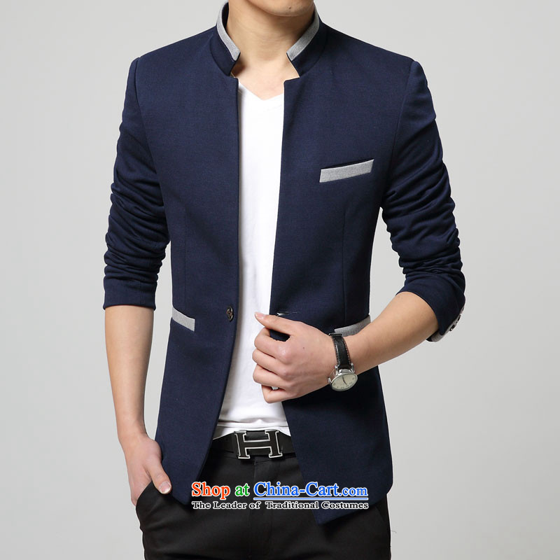 Happy Times men Chinese tunic suit small new autumn Men's Mock-Neck Korean Sau San-blue�L