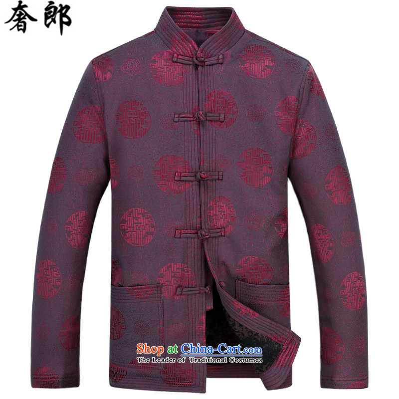 The luxury of health of autumn and winter new Fu Shou of older persons in the Tang dynasty middle-aged men's Mock-neck long-sleeved blouses men national costumes of nostalgia for the improvement of national dress red T-shirt and pants Kit�L