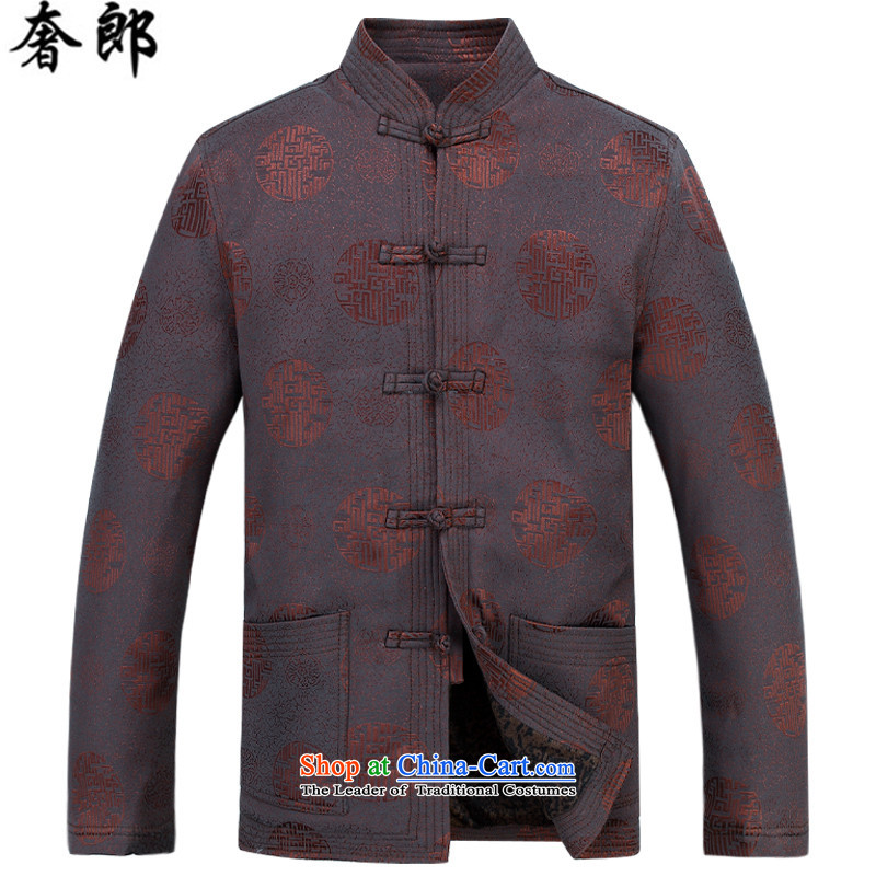 The luxury health China wind men in Tang Dynasty Chinese Winter older Chinese tunic Long-Sleeve Shirt thoroughly improved Stylish coat collar middle-aged men in spring and autumn national antique brown shirt kit plus燲XXL Pants