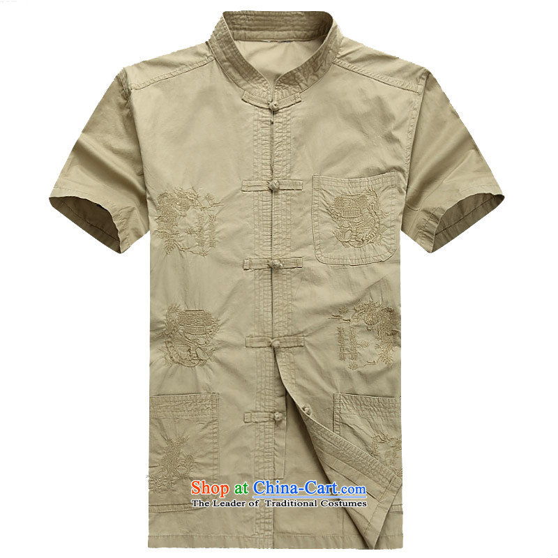 Kanaguri mouse in older men Tang dynasty, short-sleeved T-shirt summer load father Mock-neck China wind short-sleeved blouses Tang khaki�XL/180