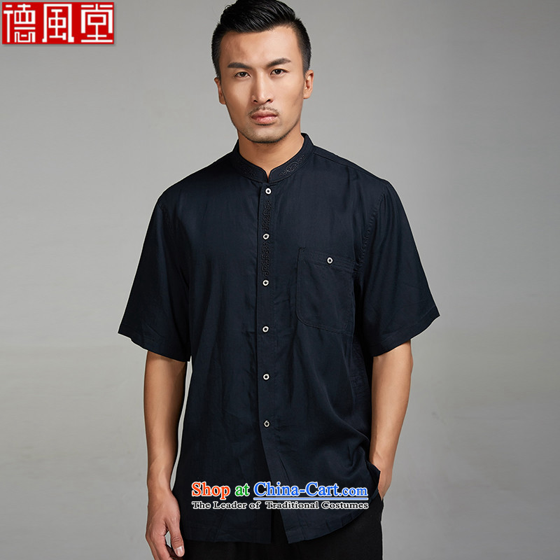 Fudo widely hailed de?2015 new summer, a 100% Gloria 0804men Tang dynasty short-sleeved ethnic Chinese clothing embroidery collar?XXL