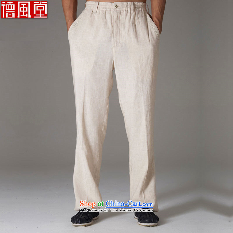 De-line fudo men's trousers, Tang Dynasty  of Chinese elastic waist anti-wrinkle Sau San China Wind Pants cornhusk yellow�M Summer 2015
