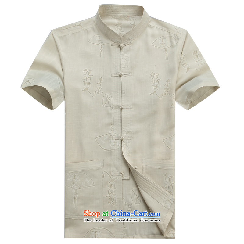Beijing New OSCE Tang Dynasty Xia Men's older cotton linen Tang Dynasty Short-Sleeve Men with beige XL/180 Dad