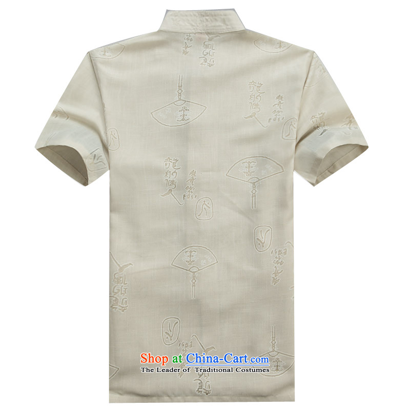Beijing New OSCE Tang Dynasty Xia Men's older cotton linen Tang Dynasty Short-Sleeve Men with beige聽XL/180, father Putin (JOE OOH) , , , shopping on the Internet