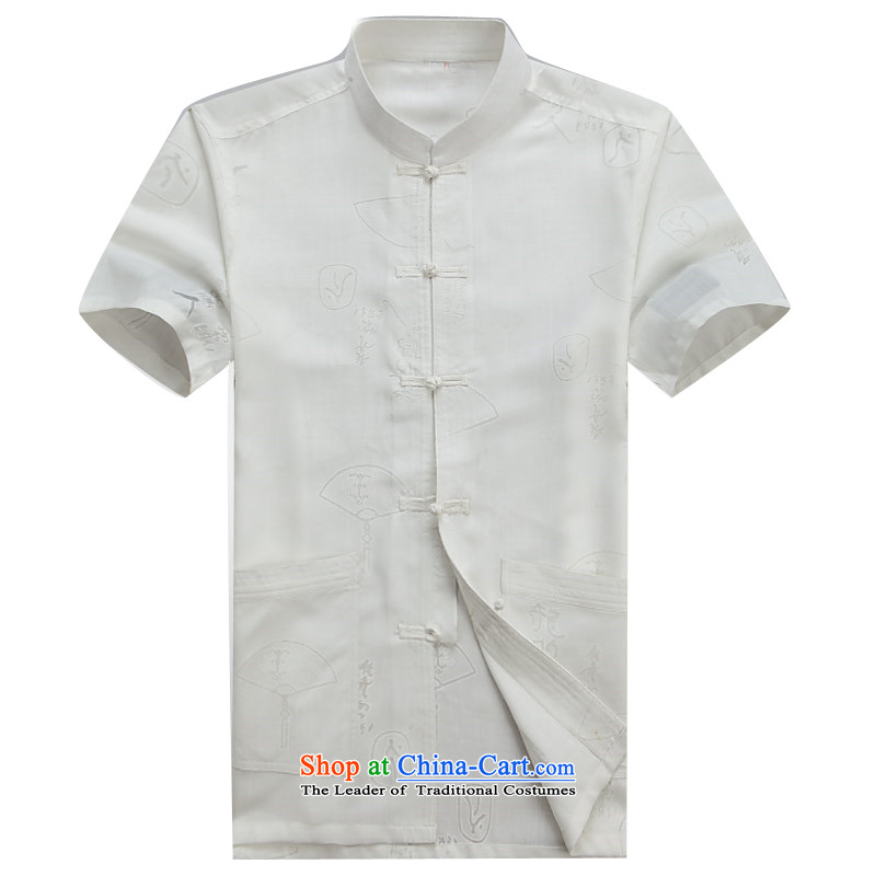 Beijing New OSCE Tang Dynasty Xia Men's older cotton linen Tang Dynasty Short-Sleeve Men with beige XL/180, father Putin (JOE OOH) , , , shopping on the Internet
