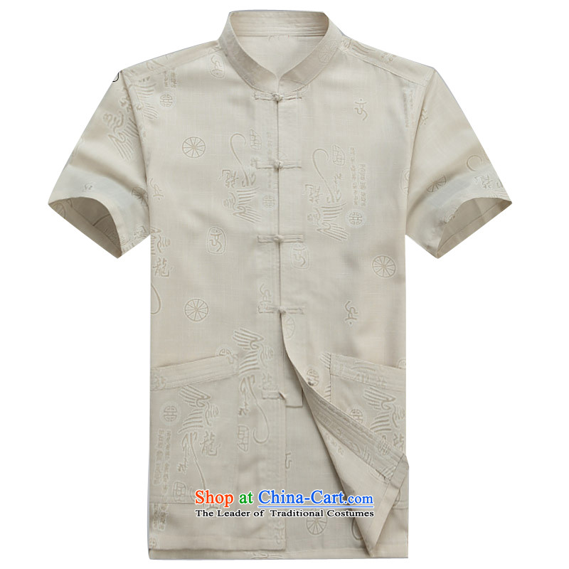 Beijing OSCE male short-sleeved T-shirt, new summer short-sleeved Tang in older practice tai chi services with beige燲L_180 Dad