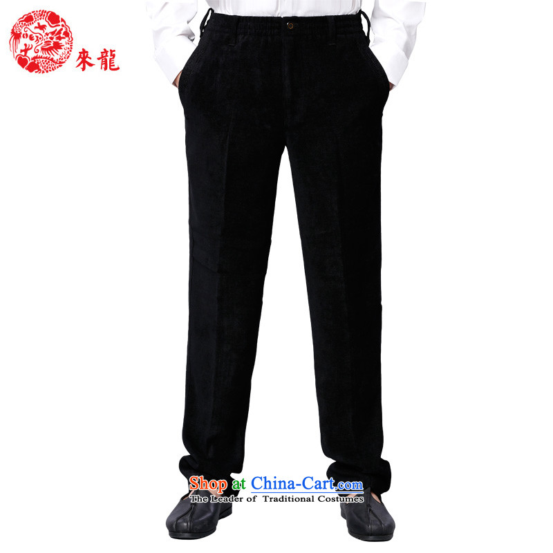 To Tang Dynasty Dragon China wind men viscose pant聽14571聽Black聽48 Black聽52