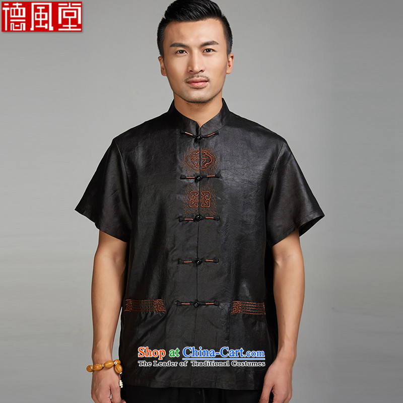 Fudo Tak Ming Kum -cloud yarn 2015 men's short-sleeved Tang Dynasty Chinese Disc detained embroidery shirt China wind men detained XXXL beads