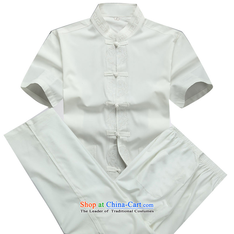 Beijing OSCE men summer new Tang dynasty short-sleeved Tang dynasty in older-Tang dynasty male short-sleeved Tang Dynasty Package white M_170 Kit