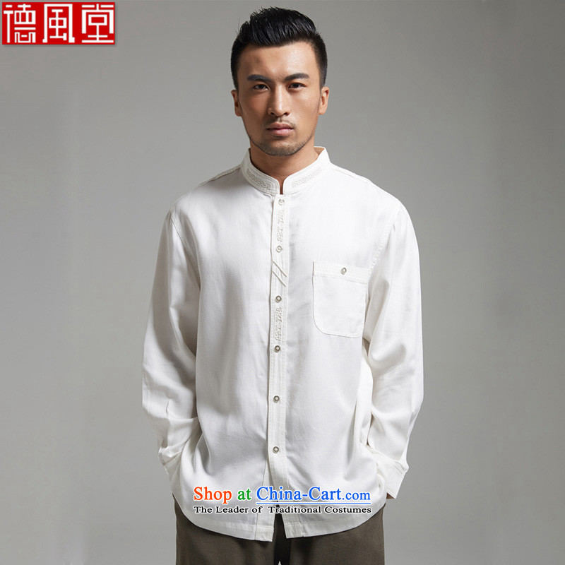 De Fudo Headquarters Chinese Xuan collar embroidery men's shirts long-sleeved shirt during the spring and autumn 2015 days silk China wind men white聽L