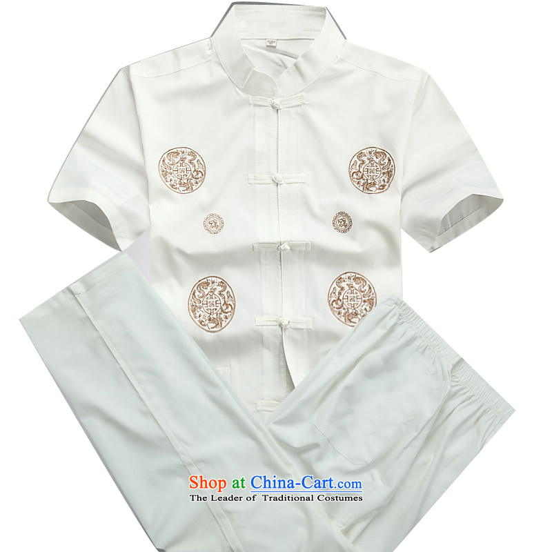 Beijing OSCE men summer new Tang dynasty short-sleeved Tang in older-Tang dynasty male short-sleeved Tang Dynasty Package white M/170 Kit
