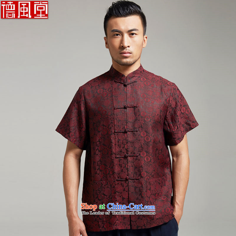 De-gye fudo聽2015 new cloud of incense yarn short-sleeved Tang dynasty in older summer improved Han-T-shirt China wind men Chinese clothing Heung-gye evergreens聽L
