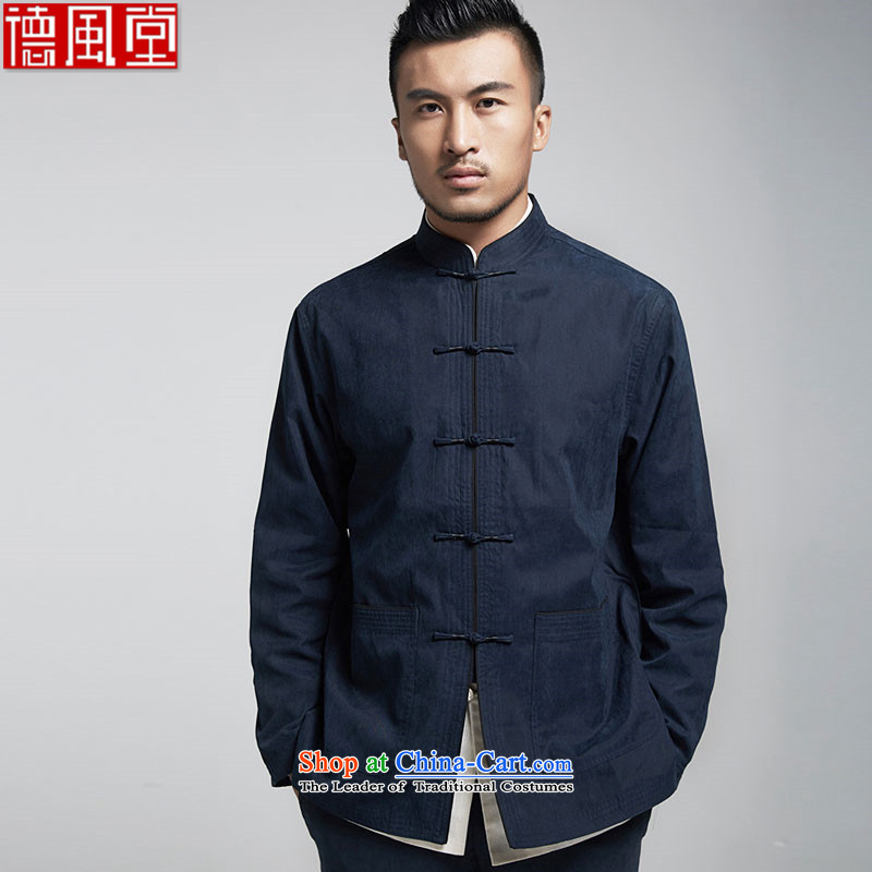Fudo Lau Fall,?2015 autumn and winter men Tang casual jacket China wind pure color is detained Mock-Neck Shirt improved dark blue?L