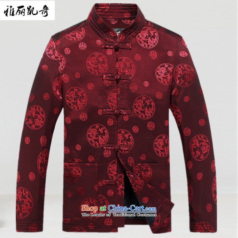 Alice Keci Tang Tang dynasty in older men fall and winter long-sleeved sweater cotton robe Chinese tunic father grandfather ascendant of the gift of improved national Mock-neck increase red L