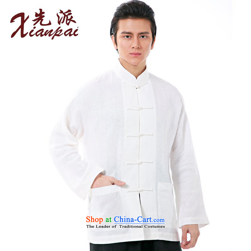 The dispatch of the spring and summer China wind long linen shoulder shirt Tang dynasty and long-sleeved new Chinese collar up Chinese Wind Dress Shirt of ethnic white linen long-sleeved shirt�S