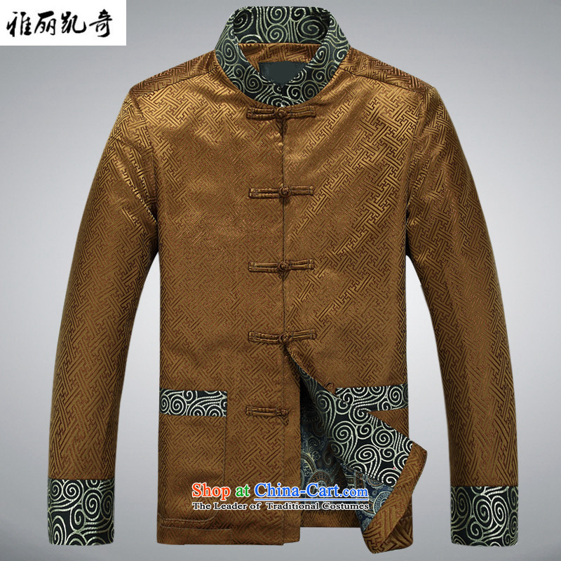 Alice Keci autumn and winter new Tang dynasty of older persons in the middle-aged long-sleeved shirt collar men men national costumes improved national birthday too life jackets gold XXXL