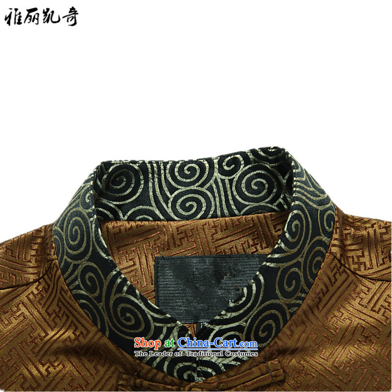Alice Keci autumn and winter new Tang dynasty of older persons in the middle-aged long-sleeved shirt collar men men national costumes improved national birthday too life jackets gold XXXL, Alice keci shopping on the Internet has been pressed.