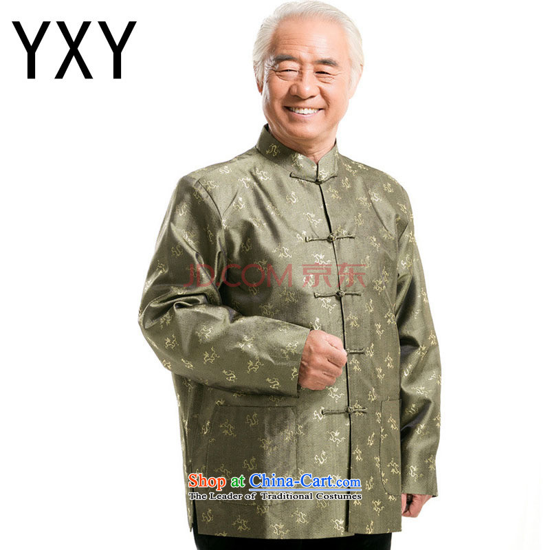 In line cloud Chinese men fall and winter Tang dynasty long-sleeved shirt, elderly men tray clip older persons long-sleeved men?DY0777?GREEN?M