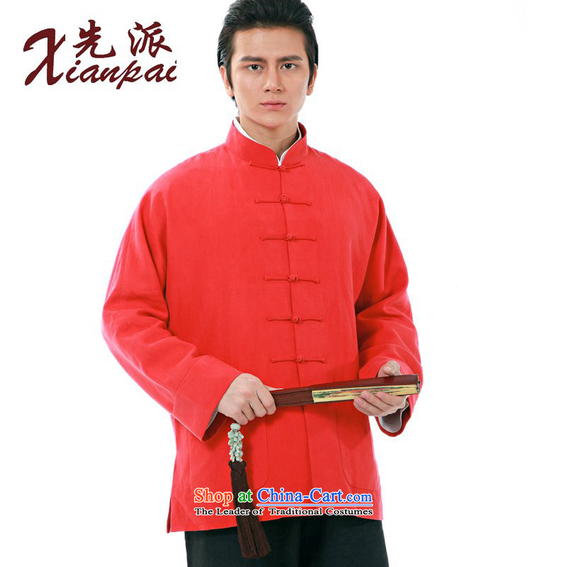 The dispatch of autumn and winter new Chinese traditional feel even cuff Tang Dynasty Men long-sleeved shirt thoroughly in China wind father of older linen Thick Red Robe wedding dresses Red Linen cotton youth?XXL