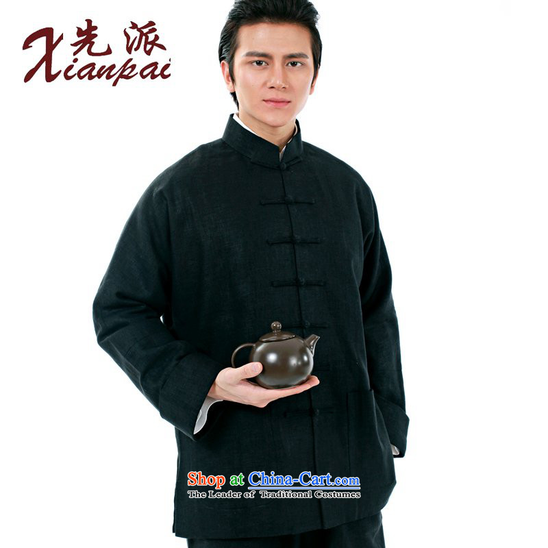 The dispatch of the Spring and Autumn Period and the Tang dynasty new products linen coat men's new Chinese China wind traditional feel even Dad shirt-sleeves Father's Day Gifts Older long-sleeved sweater Black Linen full purge the jacket XXXL