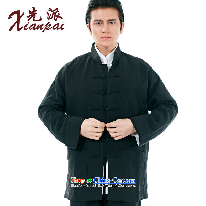The dispatch of the Spring and Autumn Period and the new products and Tang dynasty Chinese long-sleeved gown high-end Fashion Garment Father's Day Gifts silk linen even cuff jacket long-sleeved shirt, black silk Ma Tei Elderly courtesy jacket燲L