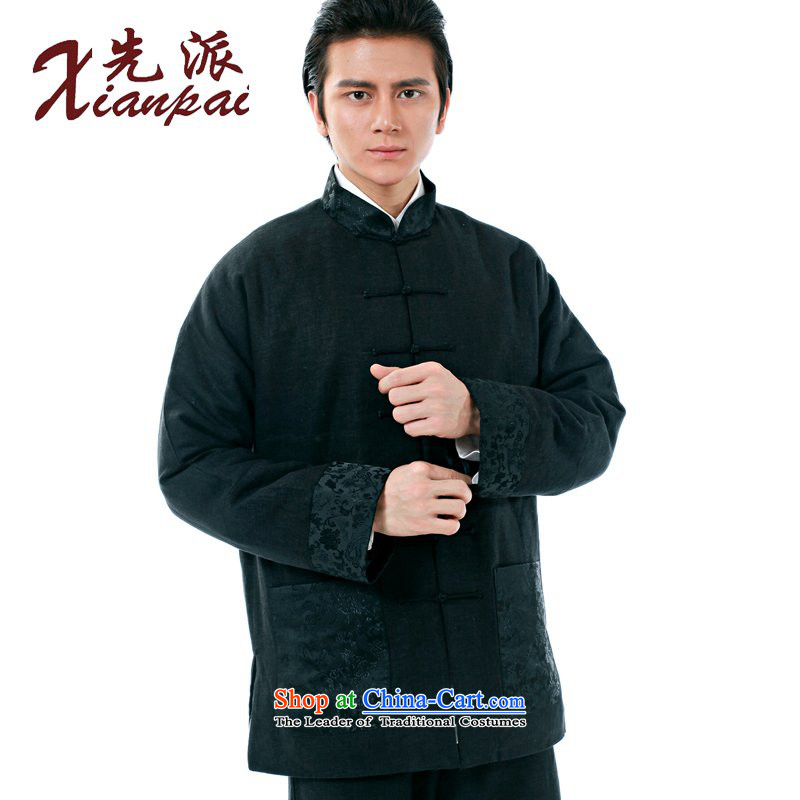 The dispatch of winter new products of Chinese traditional even cuff Tang Dynasty Men long-sleeved stylish China wind in cotton linen father older thick robe xl retro-Clip Black linen collar tapestries lung edge ��� L