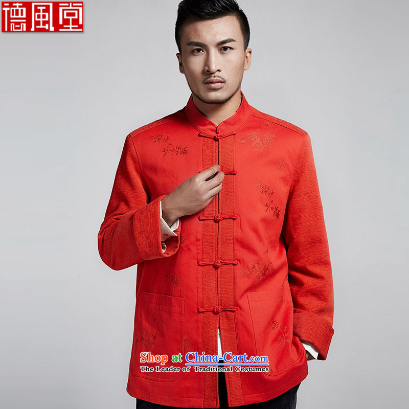 Tak Lung Tin Fudo?spring and autumn 2015 Chinese improved men Tang jackets traditional disk detained home of ethnic embroidered bamboo?52-XXXL Menswear