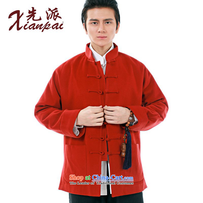The dispatch of the Spring and Autumn Period and the Tang Dynasty Men long-sleeved jacket Cashmere wool even thick cuff stylish China wind high-end new Chinese father jacket Dress Casual relaxd tray clip red collar cashmere overcoat 3XL  photographed the