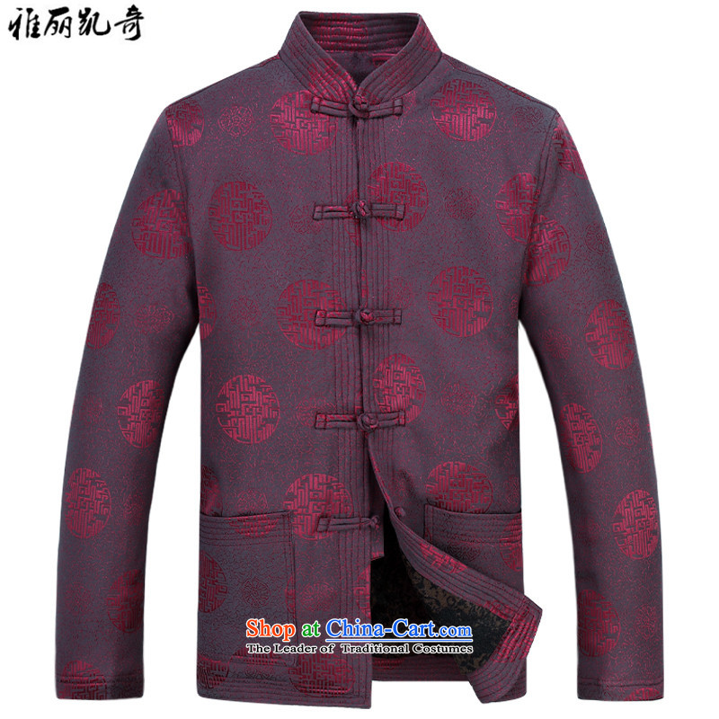 Alice Keci older men casual jacket Tang dynasty autumn and winter, men aged Chinese thick jacket thick Tang Dynasty Package improved national life too red T-shirt?XXXL dress