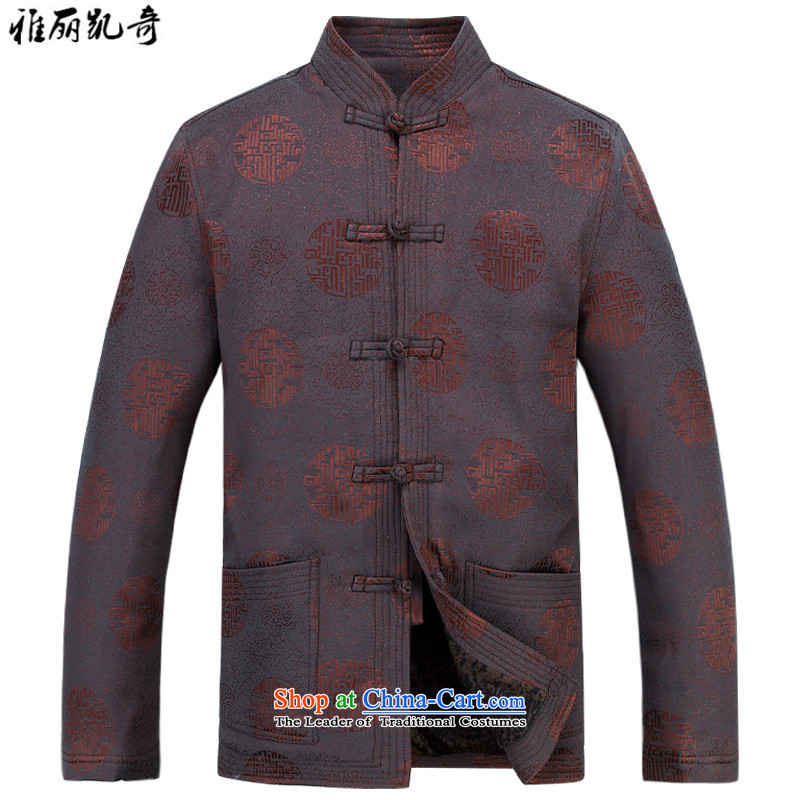 Alice Keci Tang jacket men in older Tang jackets Chinese collar older maximum code disk detained during the spring and autumn jacket coat improved national kit brown shirt kit plus pants聽XXL