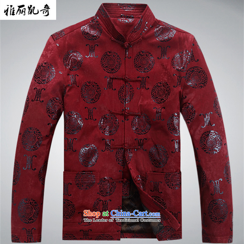 Alice Keci of older persons in the winter coats men leisure long-sleeved Tang Dynasty Chinese autumn and winter jackets for larger T-shirt improvement over life dresses birthday bourdeaux thick聽M