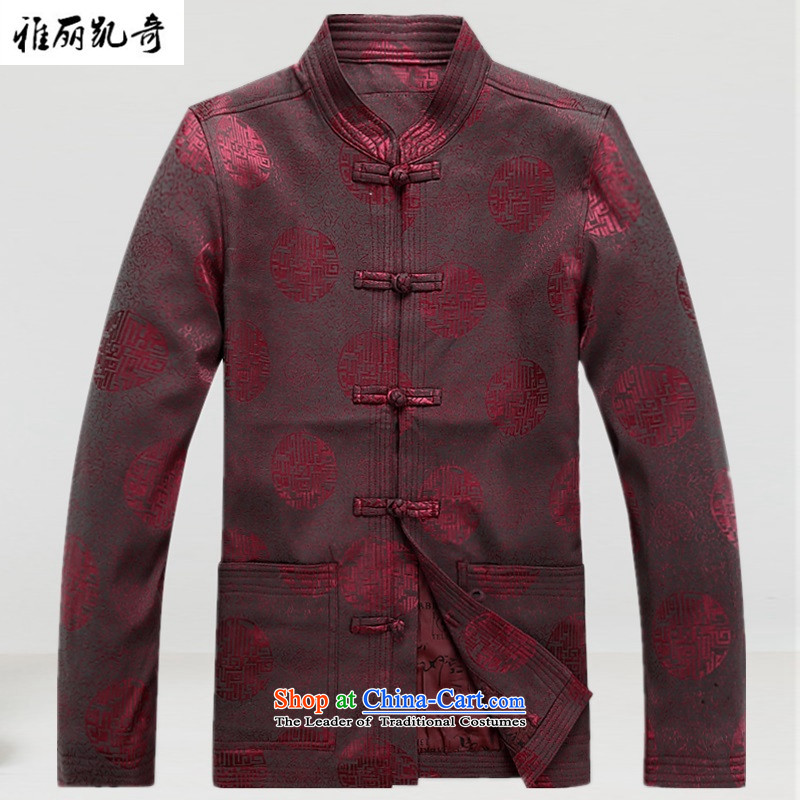 Alice Keci autumn and winter new Fu Shou of older persons in the Tang dynasty middle-aged men's Mock-neck long-sleeved blouses men national costumes and stylish Chinese red jacket?XL