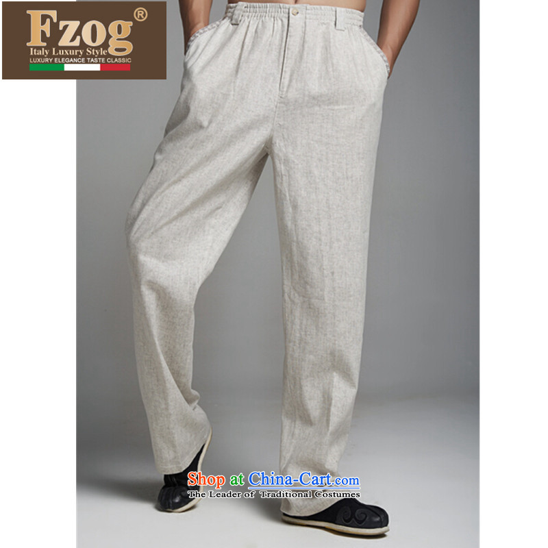 牋China wind retro Tang FZOG long pants low Comfort Men counters genuine jogging pants from ironing light gray燤
