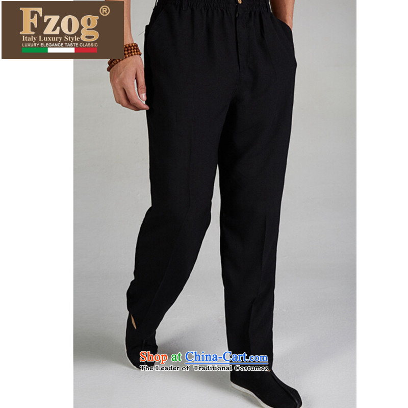 The new 2015 FZOG genuine Chinese elastic waist trousers men summer Tang casual comfortable long pants black聽L