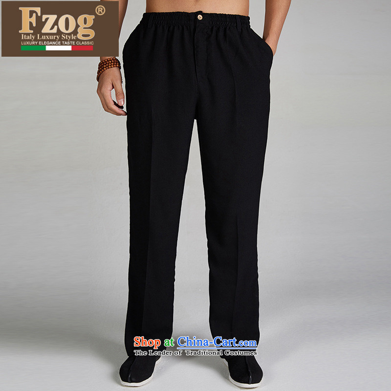 The new 2015 FZOG genuine Chinese elastic waist trousers men summer Tang casual comfortable long pants black聽L,fzog,,, shopping on the Internet