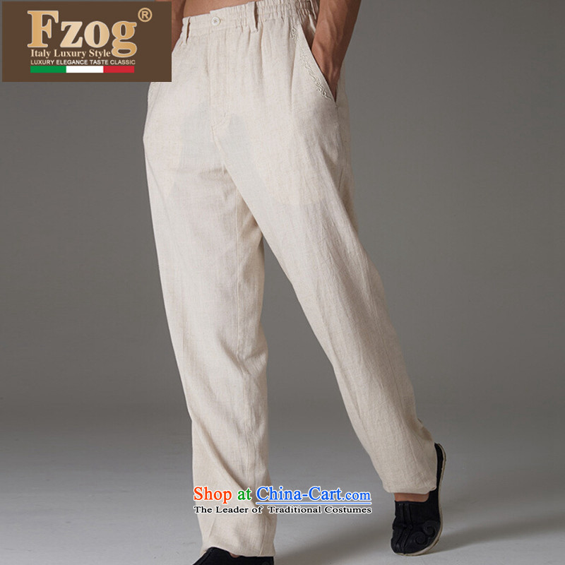 牋Tang Dynasty FZOG summer men genuine counters leisure long pants solid color hands-free ironing China wind load father beige燲XL