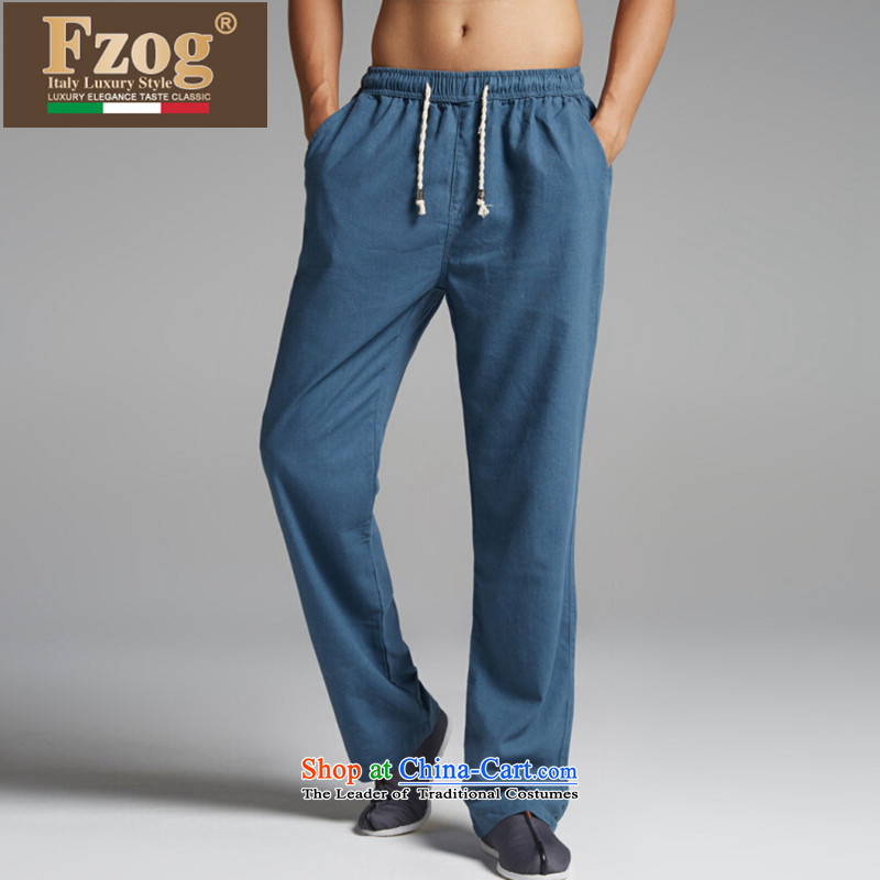 The new summer 2015 FZOG retro fitted men  Tang comfortable elastic waist long pants China wind blue?XL
