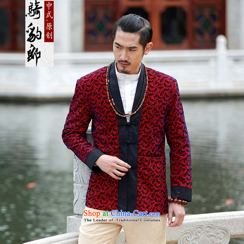 Jockeys Leopard who suits China Wind Jacket men fall new Tang Dynasty Chinese Han-disk-improved collision black clothes designer brands XXXL spend cashew nuts