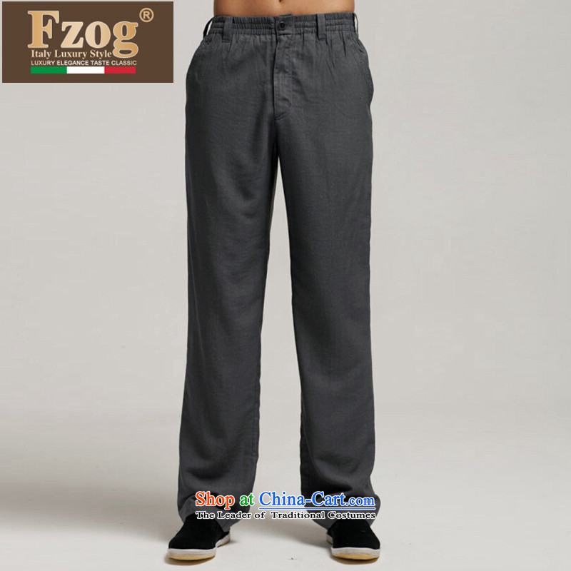 The new summer 2015 FZOG leisure men loose China wind gray long pants Tang dynasty breathability and comfort Gray聽L