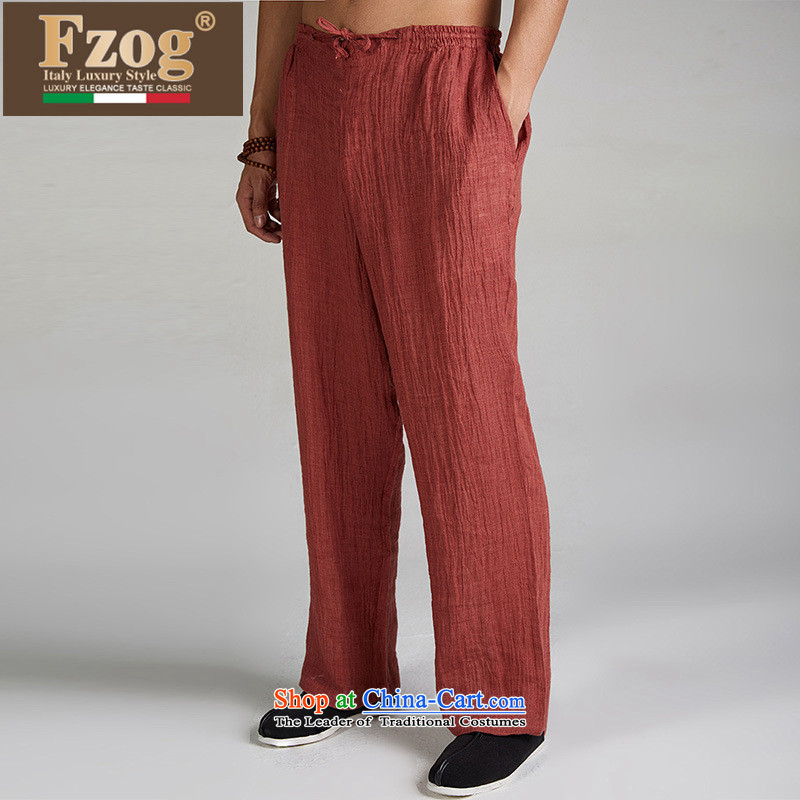 Fzog  genuine counters linen leisure Tang dynasty summer new pure color national costumes men long pants RED M