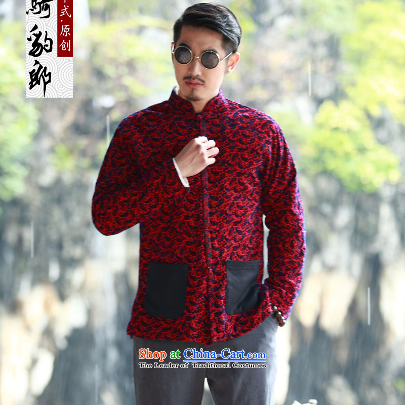Jockeys Leopard health jacket men Tang dynasty 2015 Autumn New China wind collar disc tie long-sleeved stylish men designer brands cashew RED�M