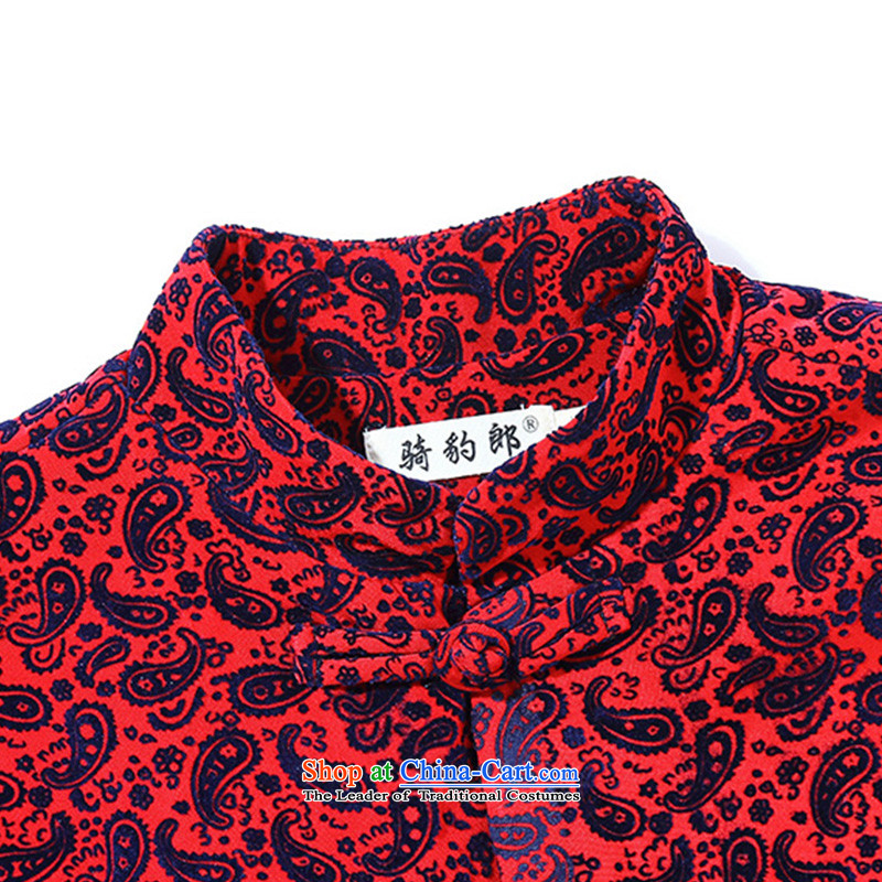 Jockeys Leopard health jacket men Tang dynasty 2015 Autumn New China wind collar disc tie long-sleeved stylish men designer brands of cashew nuts聽, M, riding a leopard who red (QIBAOLANG) , , , shopping on the Internet