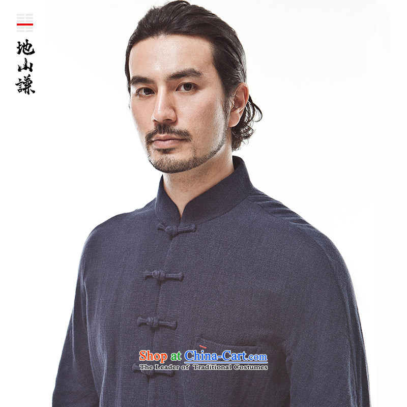 Hon IP Kwok-him in Shan Tang dynasty China wind duplex Chinese Zen men l-buttoned, Autumn new products dark blue jumbo XL