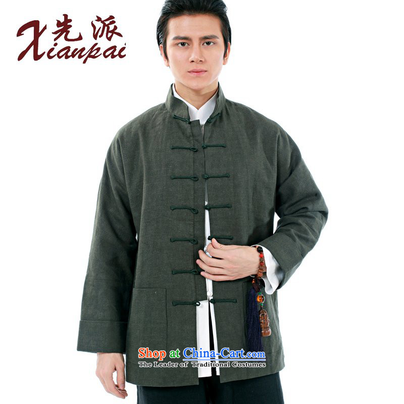 To send a new Spring and Autumn Chinese linen china wind jacket traditional feel even cuff Tang Dynasty Men's Shirt is detained by the father for the elderly in the long-sleeved shirt and dark-XL linen coat?M