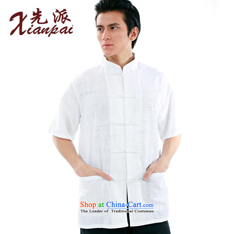 The dispatch of new products in the summer load Tang Man white linen jacquard short-sleeved T-shirt new Chinese literary van collar retro-tie china wind youth Dress Shirt only white linen jacquard?XXXL short-sleeved T-Shirt