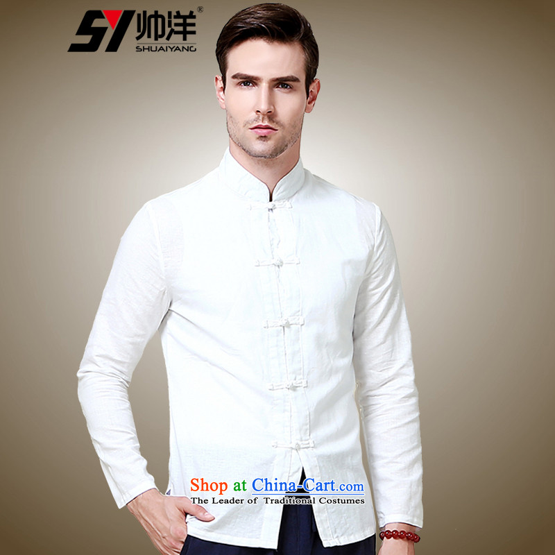 The new 2015 Yang Shuai cotton linen men Tang dynasty China wind long sleeved shirt collar shirt wild forming the Chinese white shirt聽40_170