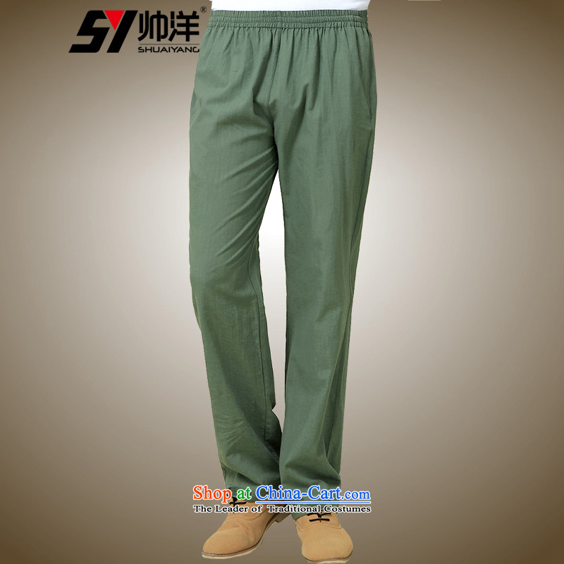 The Ocean 2015 Autumn Load Shuai New Men Tang pants China Wind Pants Chinese Army Green聽175_L