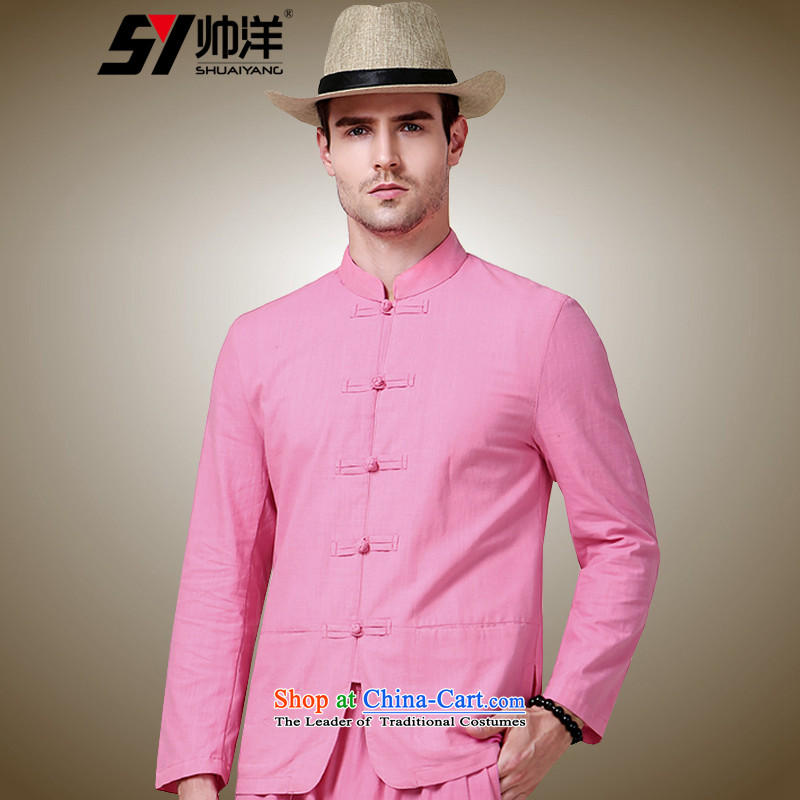 The Ocean 2015 Autumn Load Shuai New Sau San Tong men with long sleeved shirt China wind in the national costumes of Chinese red�175/L Jacket