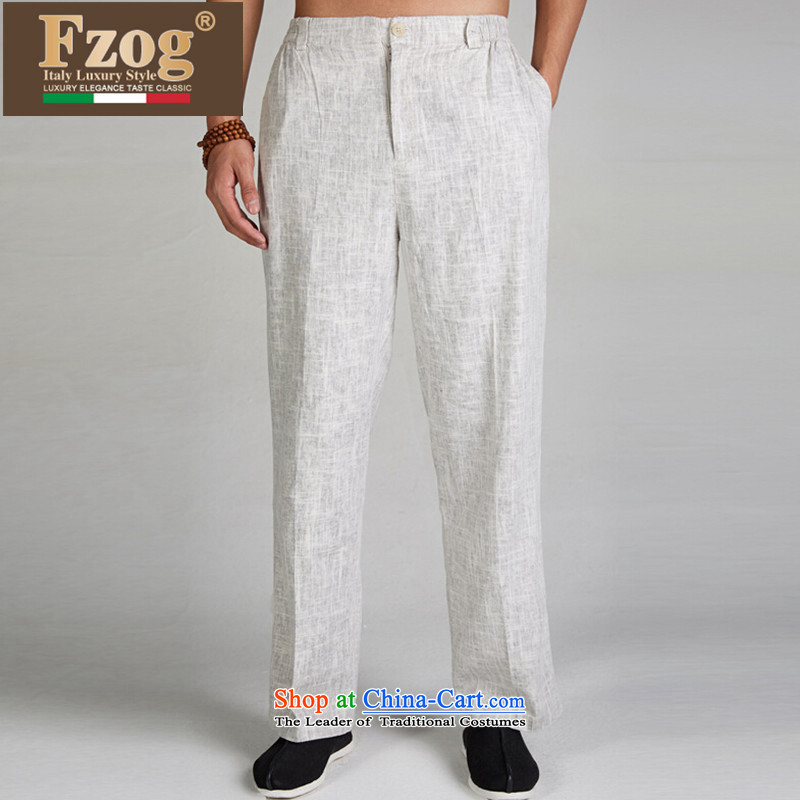 ??Tang Dynasty Chinese men FZOG long pants?2015 Summer new genuine breathable large relaxd light gray?XXXXL down