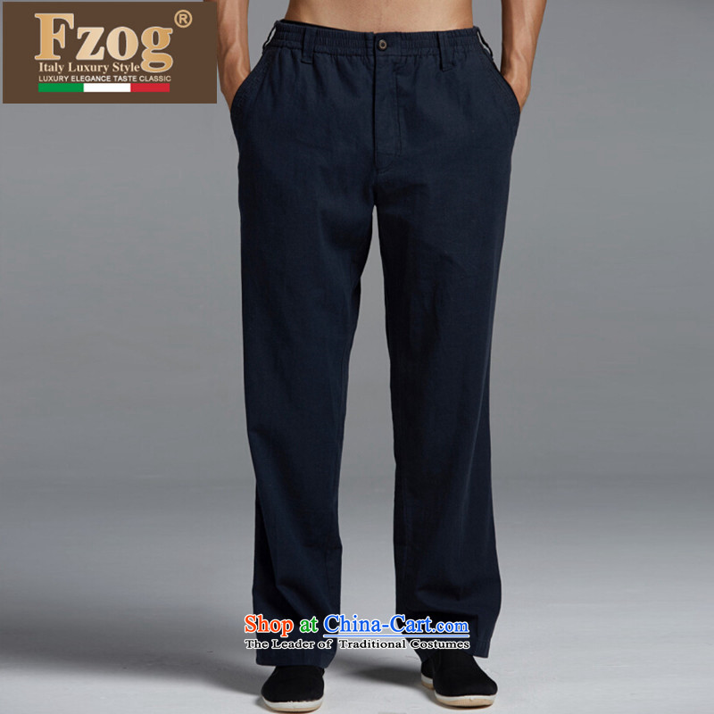 The new summer 2015 FZOG leisure men long trousers genuine China wind in older low comfort Tang dynasty dark blue�XL